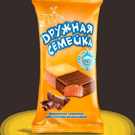 Сливочное «Дружная семейка» с какао в шоколадной глазури и печенье