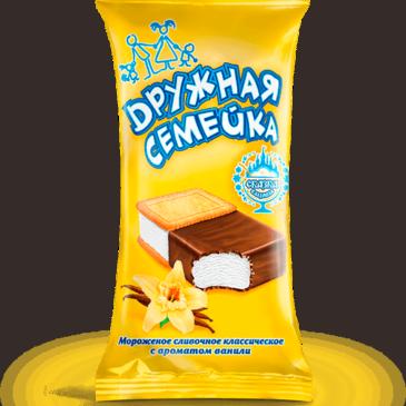 Сливочное «Дружная семейка» с ароматом ванили в шоколадной глазури и печенье