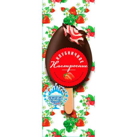 Пломбир «Клубничное настроение» с ароматом клубники и ванили с наполнителем «клубника» в какао содержащей глазури